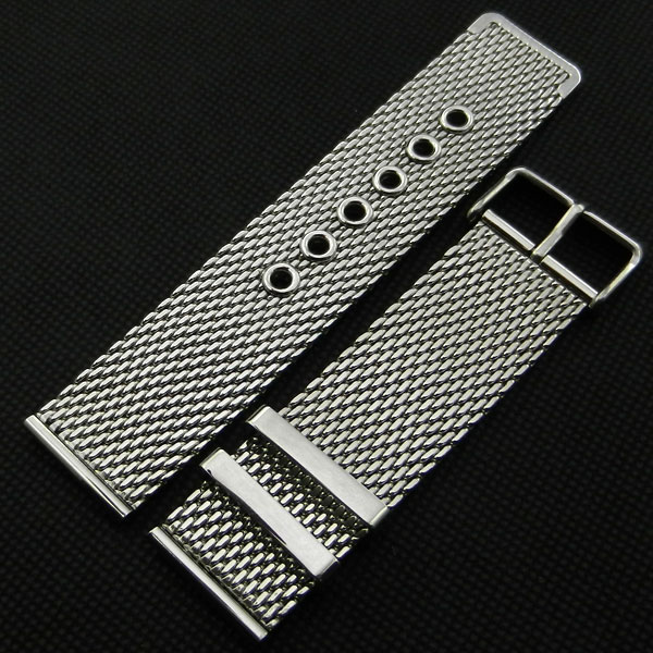 High Quality Silver 20mm 22mm 24mm Stainless Steel Mesh Watch Band Strap Pin buckle Men Women Replacement GD0115