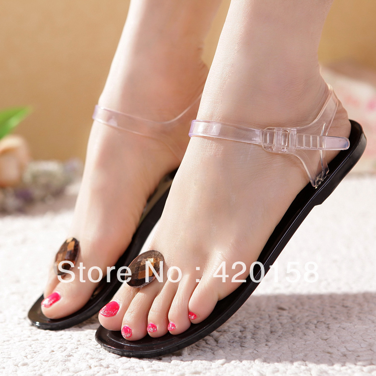 free shippin 2015Women shoes summer diamond flat sandals, transparent glass slipper - Beautiful maple forest store
