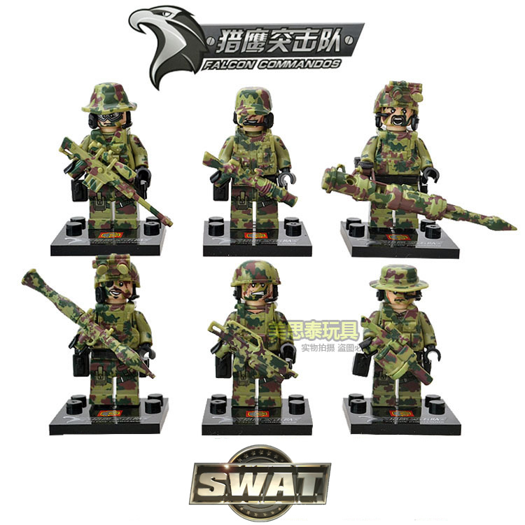 Гаджет  6pcs SWAT Police Falcon Commandos Marine Corps RPG Battlefield Minifigures Building Blocks Toys Gifts Compatible With Lego None Игрушки и Хобби