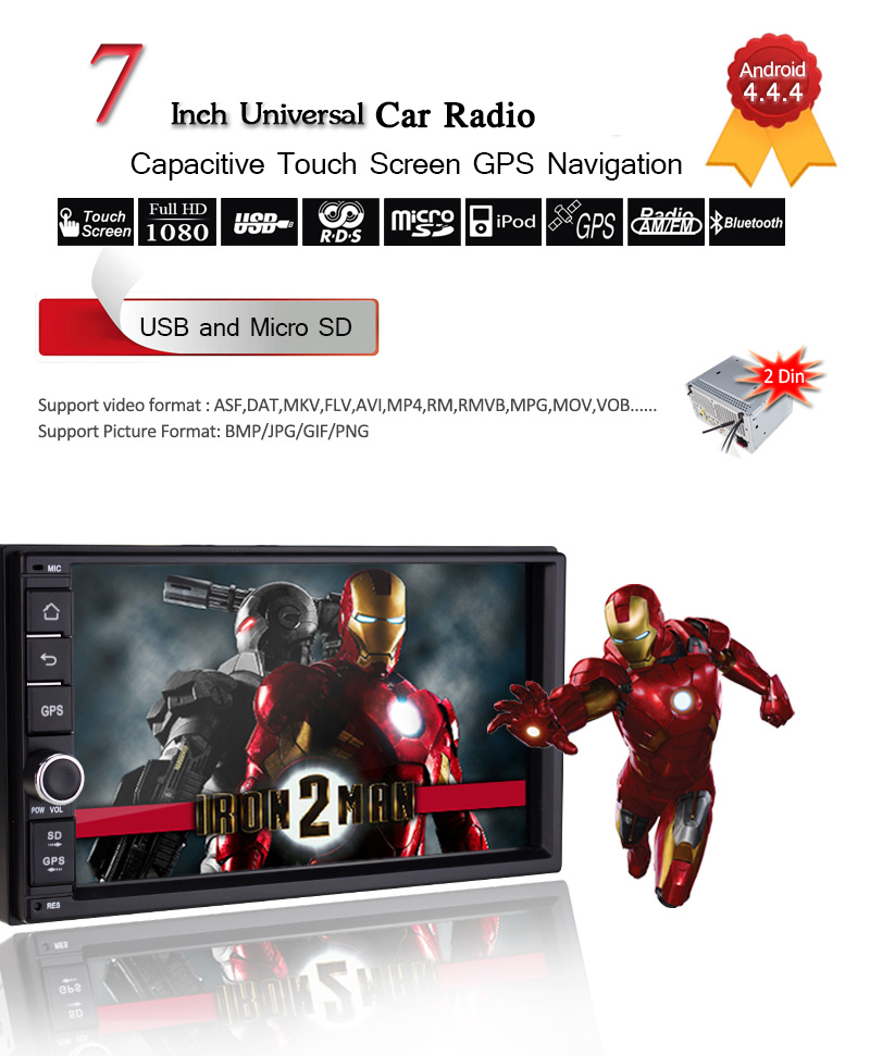 Free shipping Dual Core 7'' Double 2Din Android 4.4 Car GPS Universal 3G wifi Audio Stereo auto Radio Navigation free map(Hong Kong)