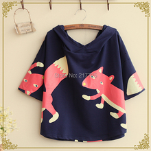 2015 spring new women Fox personality printing   Hooded loose and comfortable sleeve T-shirt(China (Mainland))