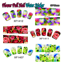 Nail 25Sheets/Lot Flower Full Nail Art Water Sticker Beauty Colorful Nail Water Transfer Sticker Decoration XF1397-1421