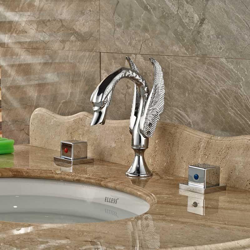 Купить Современной Площади Латунь Ручки Ванной Кран Двойной Knobe Chrome Ванной Лебедь Смесители