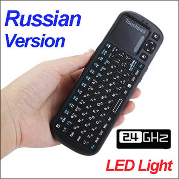 BY DHL OR EMS 100PCS Russian Version Mini iPazzport 2.4G Wireless Keyboard Mouse Touchpad Handheld with LED Light(China (Mainland))