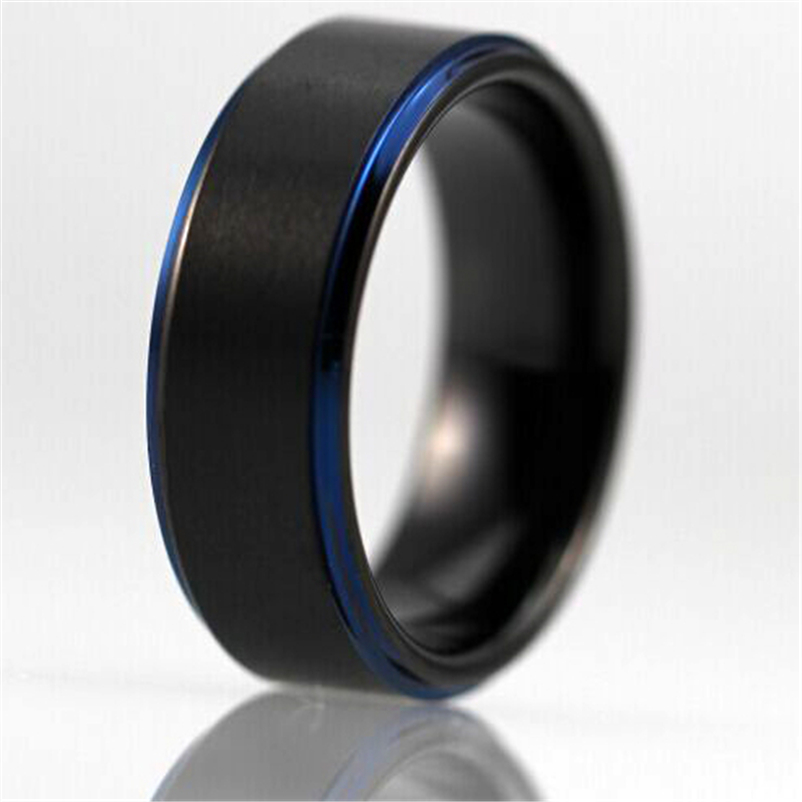 Free Shipping Customs Engraving Ring Hot Sales 8MM Black Matte Center Blue Steps Comfort Fit Design Men's Tungsten Wedding Ring(China (Mainland))