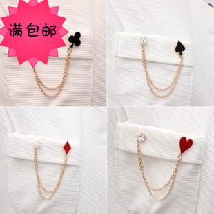 Fashion accessories lavalier fashion oil poker fancy chain brooch flower poker medal p1026(China (Mainland))