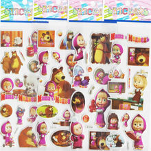 12piece/lot Russian Princess Cartoon Masha And Bear Stickers Notebook Label Decoration Toys Sticker Children Birthday Party