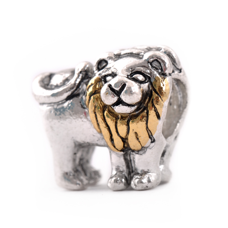 Free Shipping 925 Silve Bead Charm Double Side Lion With Gold Beads Fit Women pandora bracelets & bangles DIY Jewelry H632(China (Mainland))
