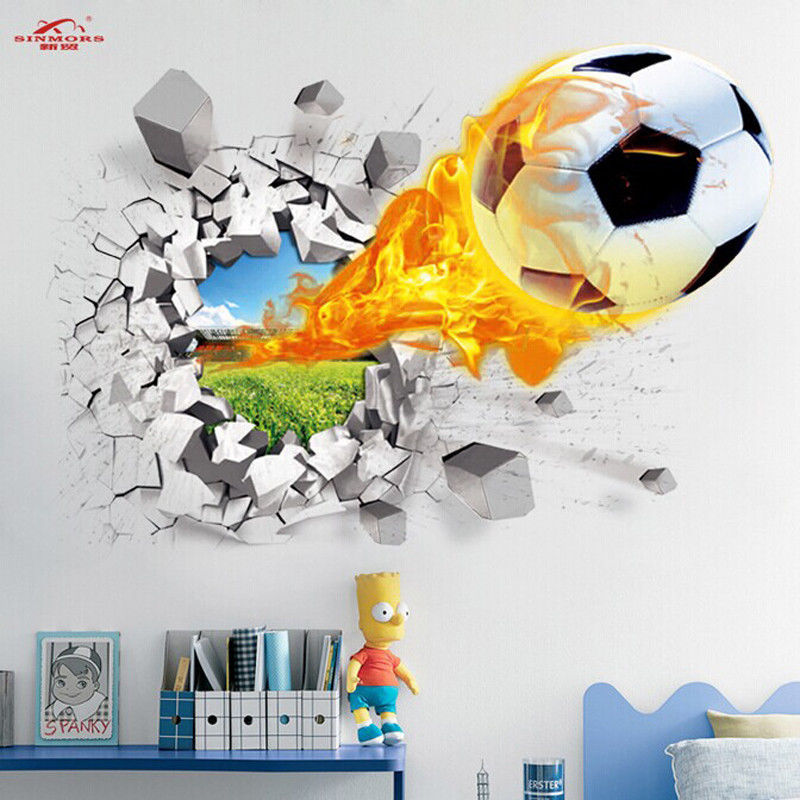 buy soccer ball football wall sticker. Black Bedroom Furniture Sets. Home Design Ideas