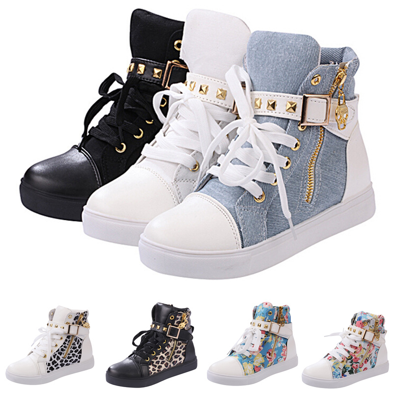 Hot sale 2015 new spring autumn korean style shoes women fashion high top lace rivets Korean fashion style shoes