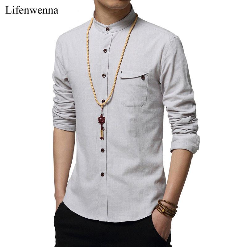 Popular high collar shirts men buy cheap high collar for Mens long sleeve casual cotton shirts