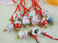 New 2014 free shipping Ceramic Maneki Neko Mobile Strap,cat mobile chain,christmas decoration chain free shipping