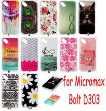 12 Cartoon Colorful Patterns Color Painting Soft Skin Gel TPU Case for Micromax Bolt D303 Phone Back Cover
