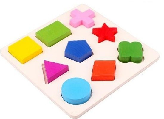 Гаджет  New 2014 Top Promotion Wooden 9 Shapes Colorful Puzzle Toy Baby Educational Brick Toy None Игрушки и Хобби