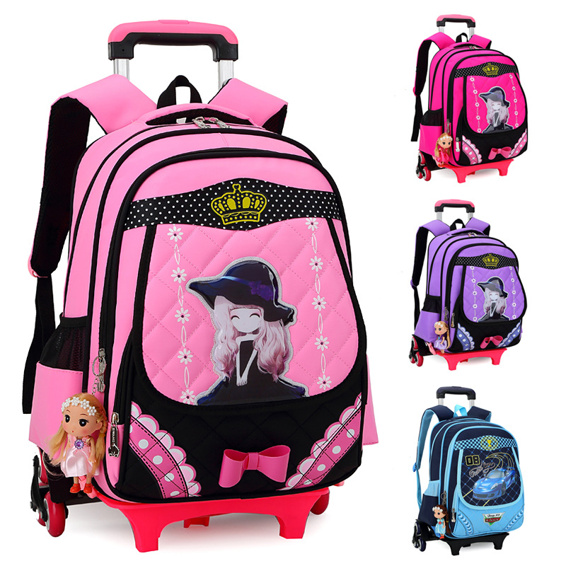 Korean Children's Detachable Trolley Backpack Bag Schoolbag Dual Removable Stairs Wheels Bags Primary Children - Bag's Heaven store