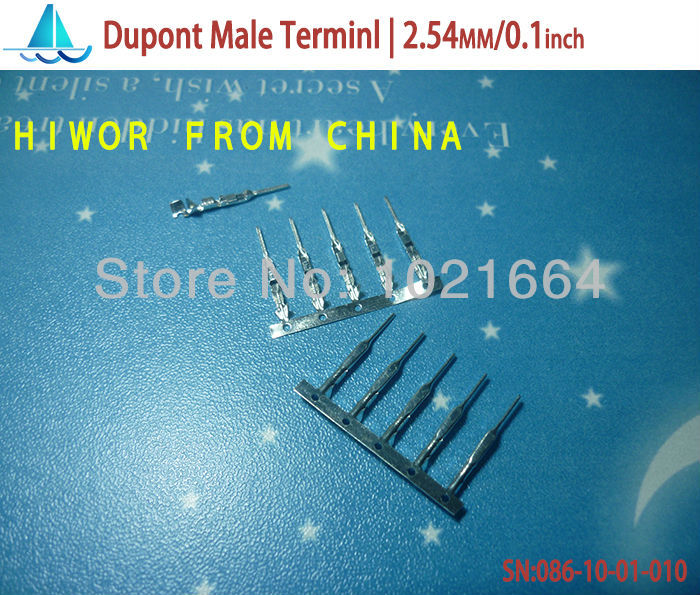 (500pcs/lot)(connectors|dupont) Dupont Male Terminal /plug, jumper Wire Cable Housing Male Pin, Pitch:2.54MM/0.1inch<br><br>Aliexpress