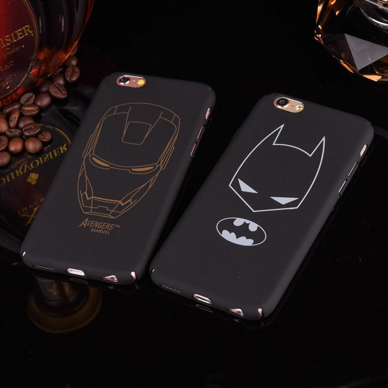 Black hard PC plastic Ultra-thin matte surface batman Phone Case Cover For Apple iPhone 7 5 5S SE 6 6S 6 plus iron Maniron Man