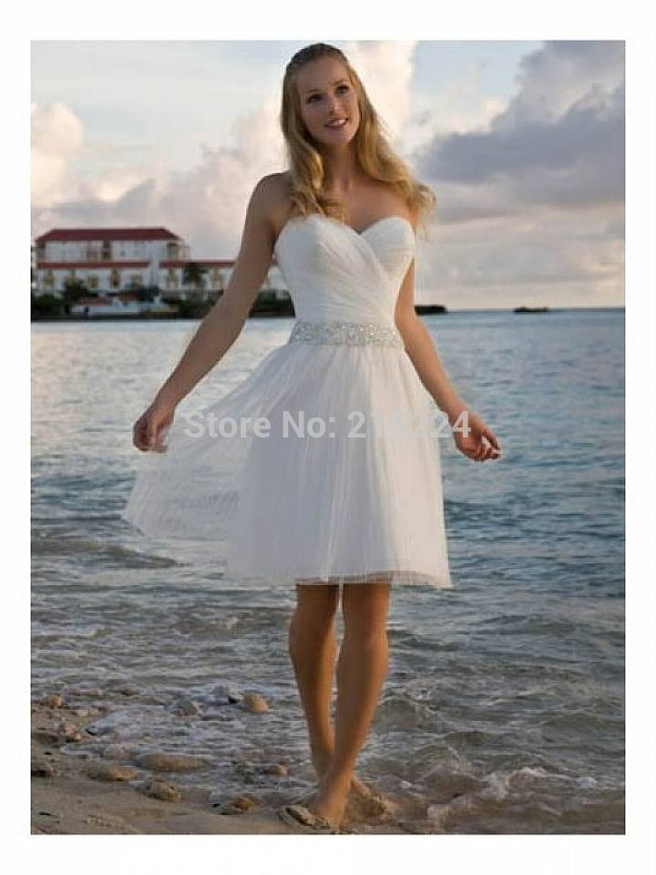 Whole sale promotion rhinestone sash beach casual short for Short beach style wedding dresses