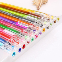 (12 piece/lot)Kawaii Colorful Ink Pen For Kid Student School Supplies 12 Color Diamond Head Gel Pen Wholesale Gift Free shipping