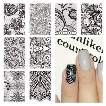 Nail Art Water Decals Black Lace Flower Patterns Stickers Water Transfer Nail Art Tattoo