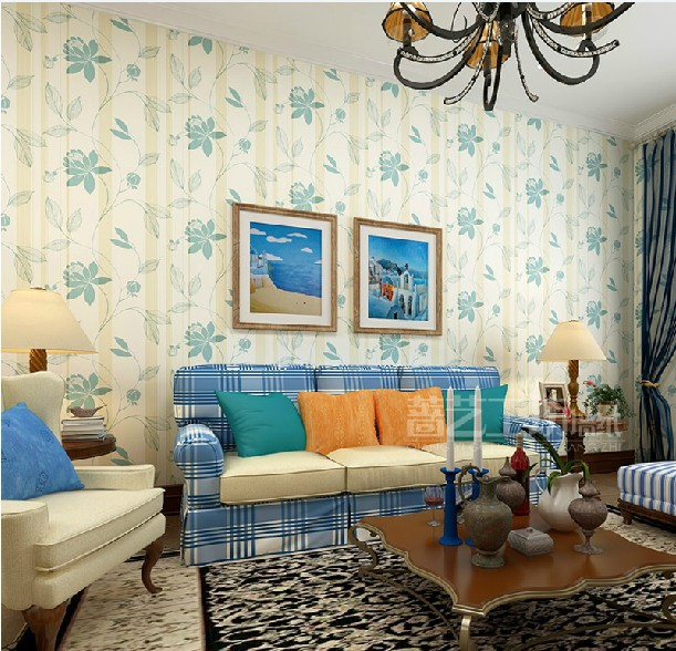 Moderne behang roll mediterrane woonkamer slaapkamer tv muur gestreepte achtergrond kleur grijs - Moderne woonkamer behang ...
