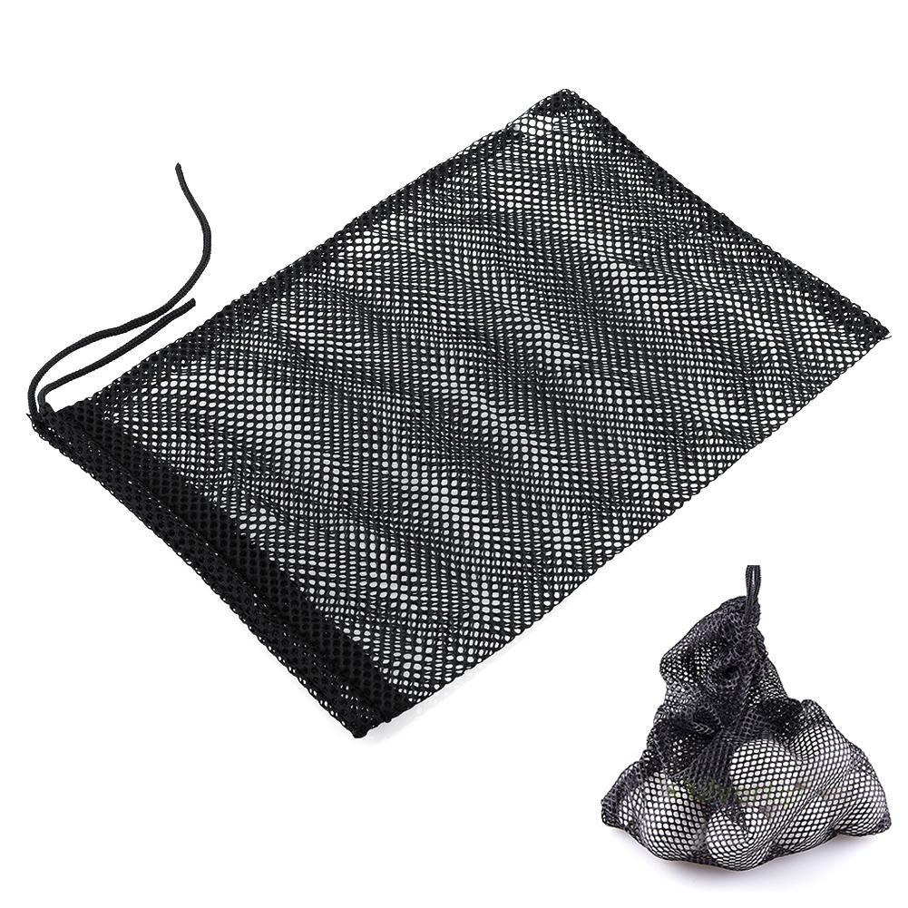 Black Nylon Mesh Nets Bag Pouch Golf Tennis 48 Balls Holder Hold Ball Storage Closure Training Aid Free shipping(China (Mainland))