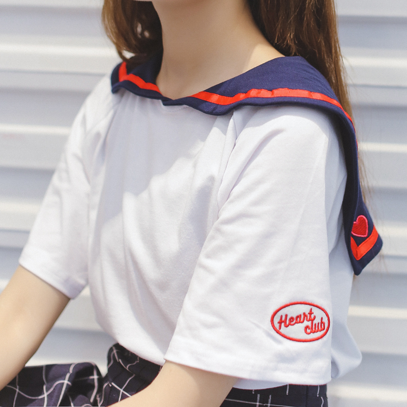 Summer Japan Style Sweet Sailor Shirt Institute Wind Girls Loving Heart Embroidery Short Sleeve T-shirt Women Cute Candy T Shirt(China (Mainland))