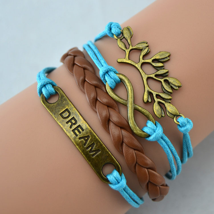 Vintage Bronze Dream Bracelet Lucky Branch Leaf Leather Infinity Weaving Rope Charm Bracelet<br><br>Aliexpress