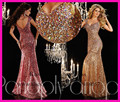 Luxury Evening Dresses Gold Red Sequins Colorful Crystal Mermaid Floor Length Designer Women Pageant Gowns LW165