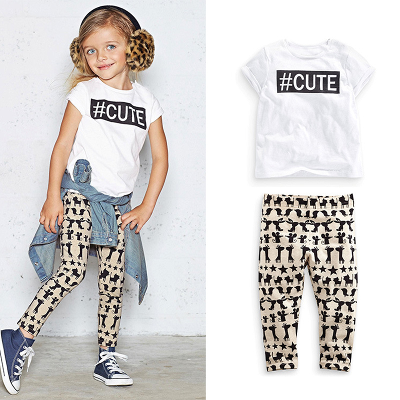 A hot summer day in 2015 a new girl short sleeve T-shirt + leggings clothing cotton children casual dress sets<br><br>Aliexpress