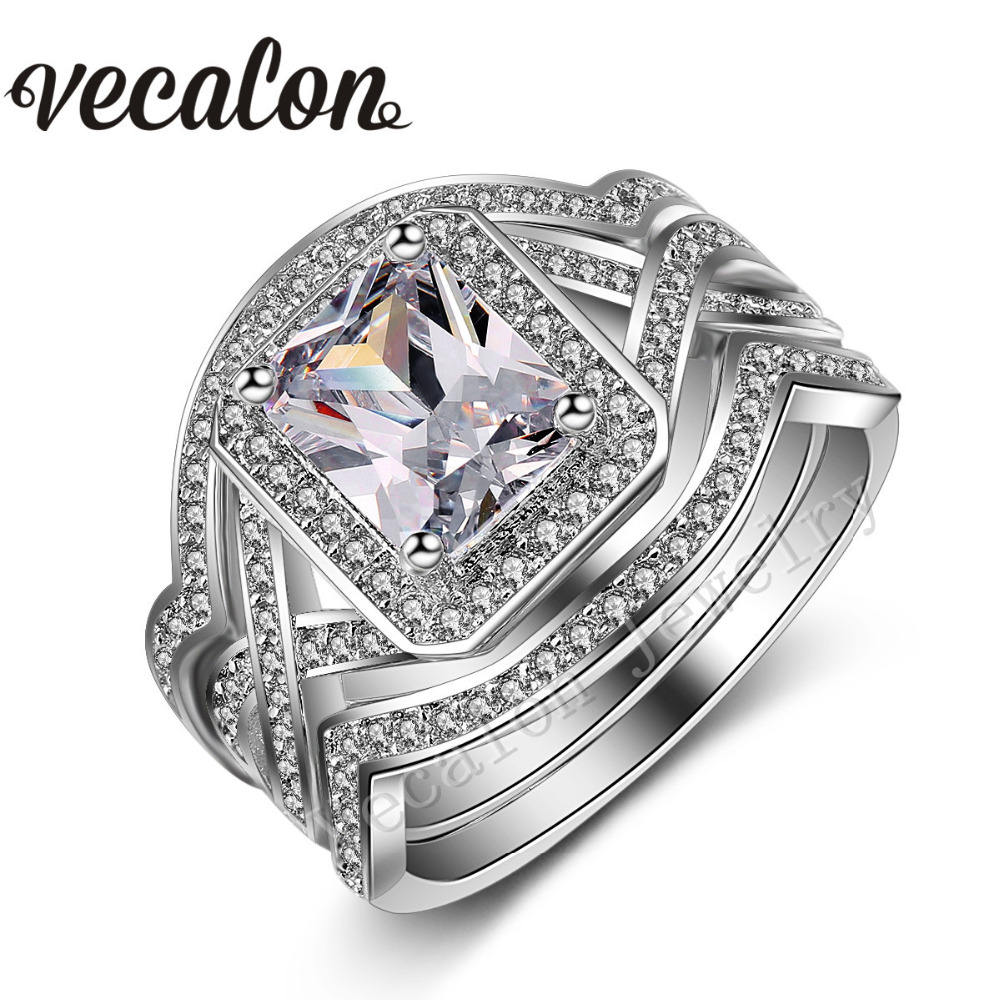 Vecalon Princess cut 4ct Simulated diamond cz 3-in-1 Engagement Wedding Band Ring Set for Women 10KT White Gold Filled ring(China (Mainland))