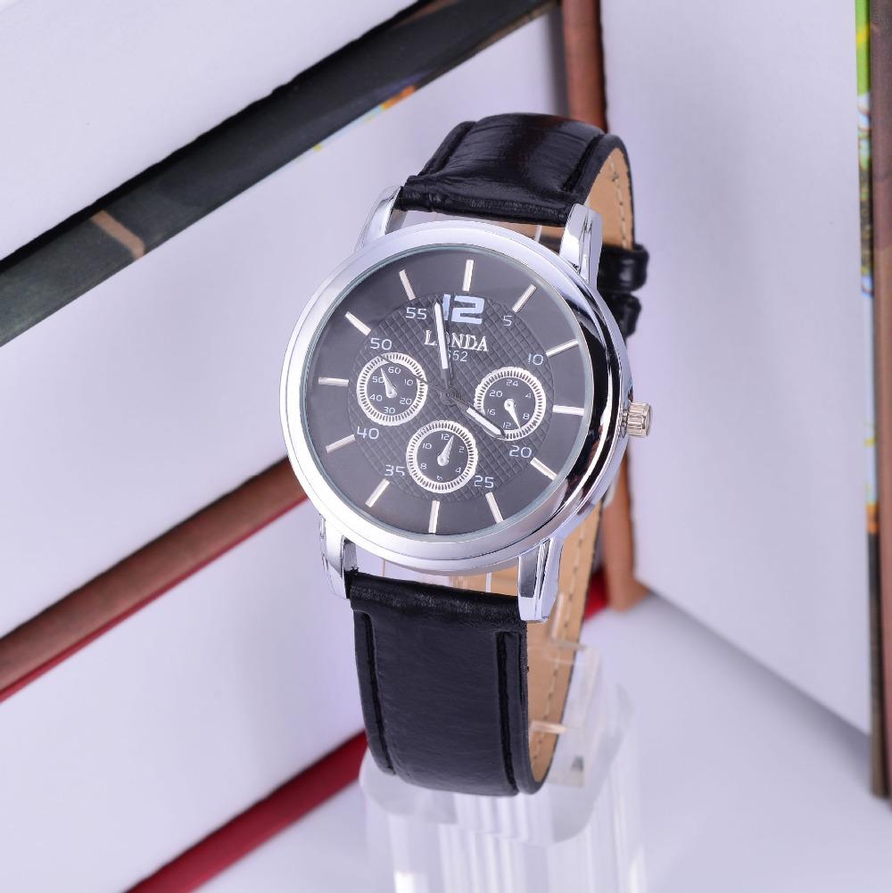 quartz hour clock leather watches bussiness