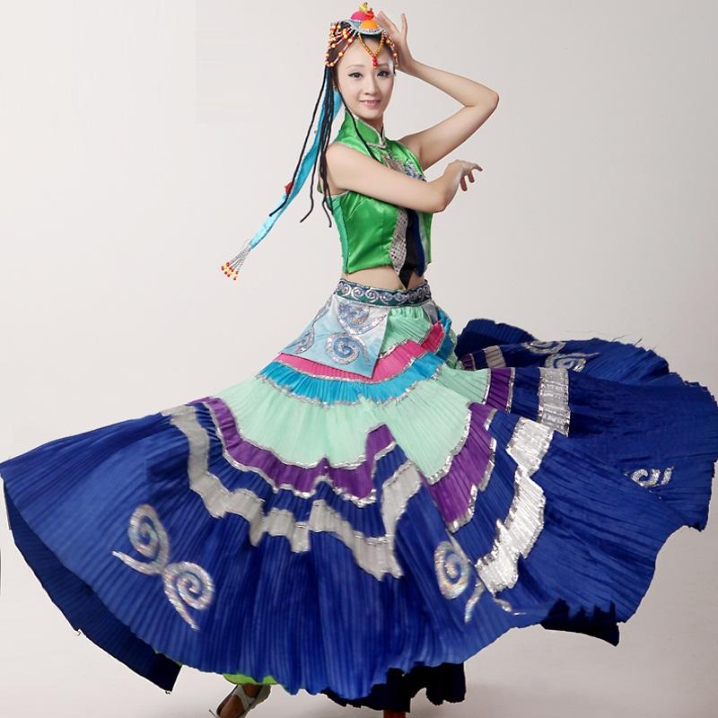 Swing grande bordado Étnico Chino trajes de baile de rendimiento original Yi Minoría estilo Tribal ropa de danza folclórica espectáculo(China (Mainland))