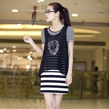 A9 plus size clothing mm2013 spring and summer new arrival paillette skull chiffon stripe vest twinset one-piece dress