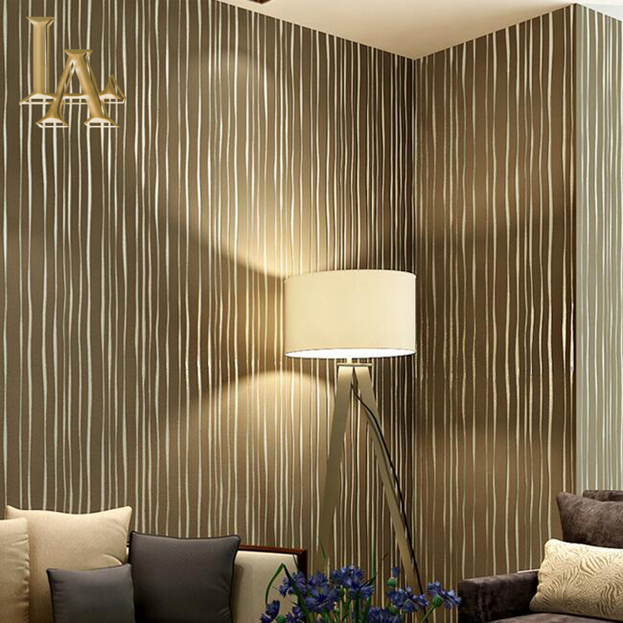 Embossed flocking silver beige stereoscopic 3d striped for Striped wallpaper living room ideas