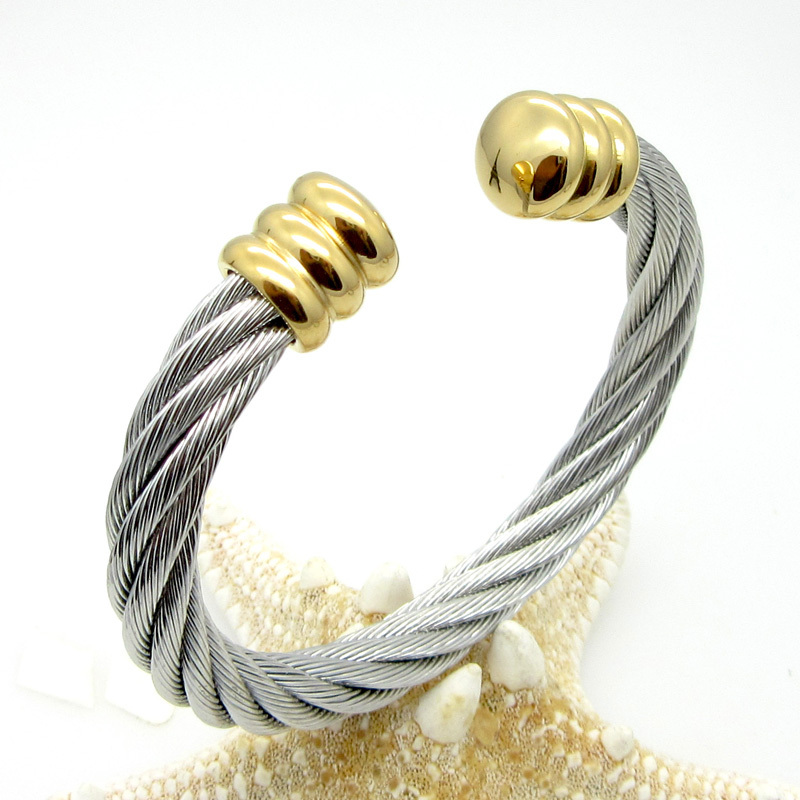 Free shipping men/women jewelry 2015 personalized stainless steel wire twist open silver wild cable cuff bracelet bangle(China (Mainland))