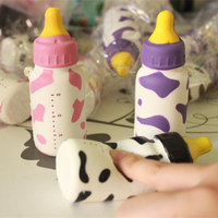 wholesale 60pcs/lot 10CM kawaii soft squishy baby bottle slow rising squeeze toys cell phone keys pendant cute squishies bread