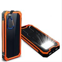 Free shipping Newest Dual USB Solar Charger Waterproof 12000mAh Solar External Battery solar Power Bank With LED Light Lamp