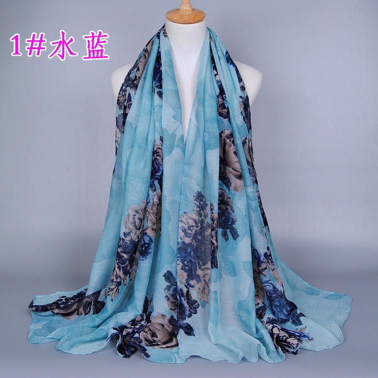 Hot Women Winter Scarf Fashion Peony Flower Printing Scarves Female Vinatge Muslim Headband Ladies Street Warm Pashmina BS175
