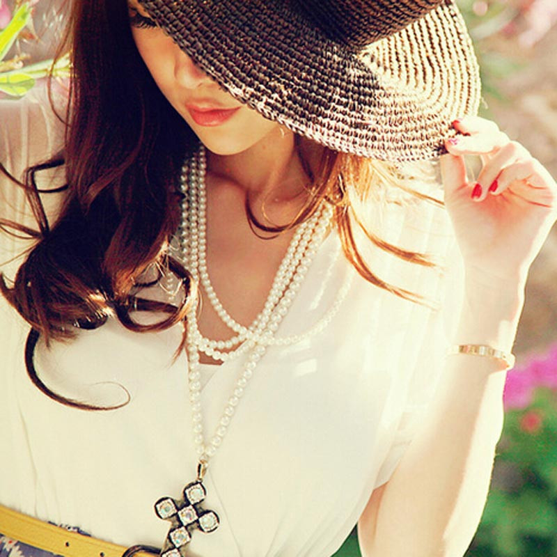 June 7 Fairy Store Summer Women Handmade Crochet Sun Hat Straw Beach Wide Large Brim Cap(China (Mainland))