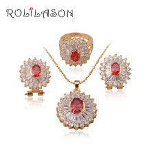 & Retail Fashion jewelry 18k k gold plated Red Crystal Jewelry Sets Earrings Necklace Ring sz #6 #7 #7.5 JS184 - TaoLiHao Ltd. store