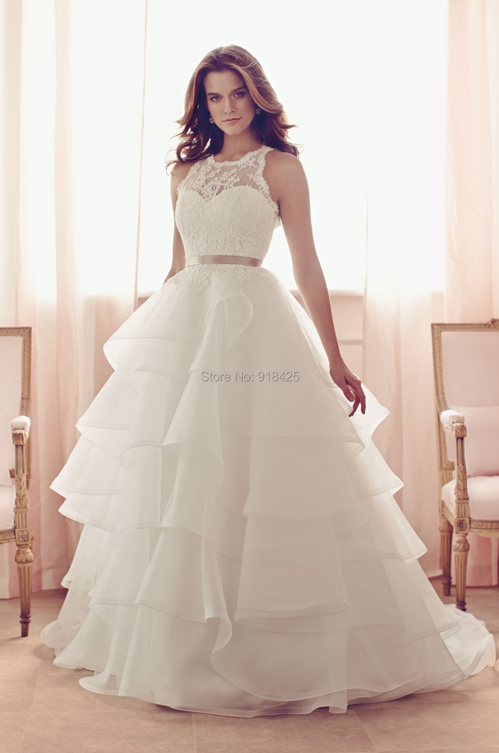 New style lace illusion neck organza multi layered ruffle for Wedding dresses with ruffles