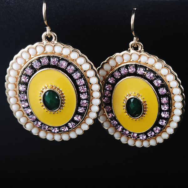 (1 pair/lot) Alloy Rhinestone Green Bohemian jewelry Statement designer brand New women big Vintage ethnic drop earings 2015 - YI Wu YouYou Foreign trade clothing accessories store