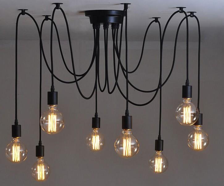 edison retro spider chandelier lighting ceiling pendant 10 l