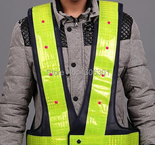 Low-cost sales fluorescent yellow reflective tape LED reflective safety vest, highways, sanitation reflective  safety vest<br><br>Aliexpress