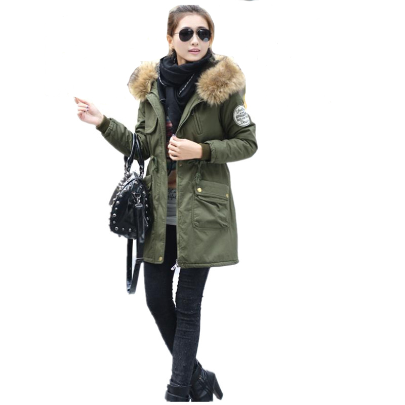 2015 New Winter Coat thicker large fur collar cotton padded jacket plus overcoat outwear free sihpping XM925(China (Mainland))