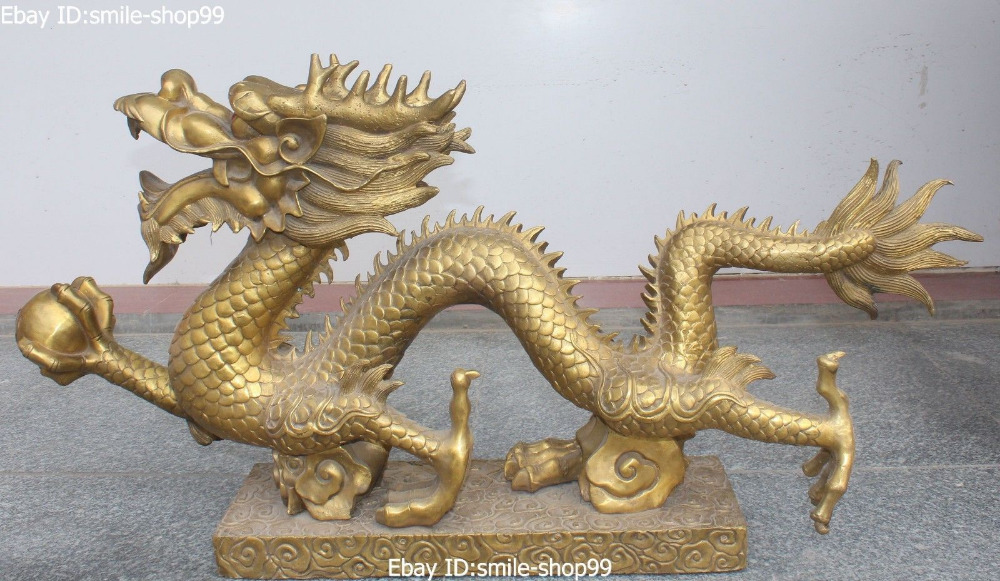 aliexpresscom buy 35 chinese fengshui bronze zodiac year animal dragon play ball statue sculpture tools wedding decoration brass bronze from reliable chinese feng shui dragon