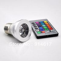 85-265V  RGB 3W E27 LED Spotlight Spot  Led Bulb Lamp with Remote Controller  Free shipping