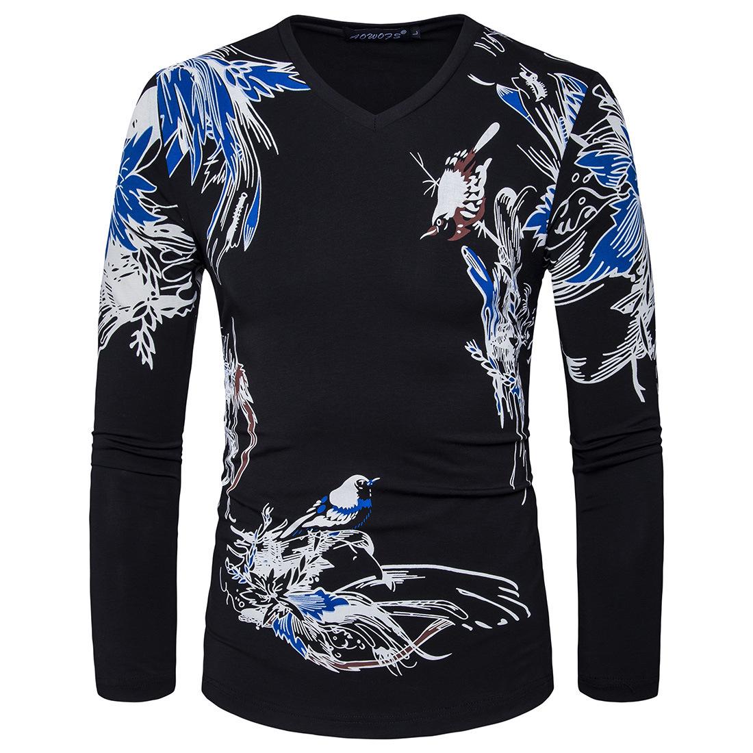 Design shirt v neck - Men Long Sleeve V Neck Printflower Designer Casual T Shirt Fashion White Black Slim Cotton T Shirt S Xxl D059