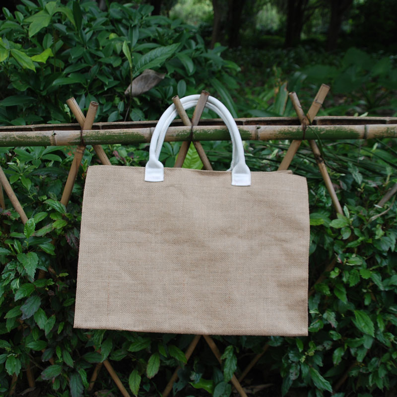 Wholesale Blanks Jute Burlap Tote Bag Casual Tote with PU Faux Leather Material Handles with Free Shipping DOM1038102<br>